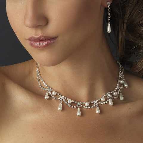 Silver White Pearl & Clear Rhinestone Bridal Wedding Jewelry Set 10914