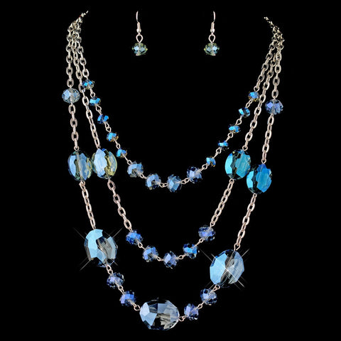 Silver Blue Multi-Strand Crystal Drape Statement Bridal Wedding Jewelry Set