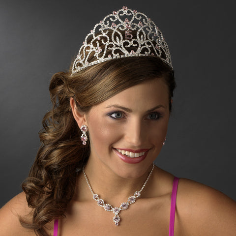 Royal Sweet 15 Quinceanera Silver Headpiece Covered in Clear & Rhinestones 251