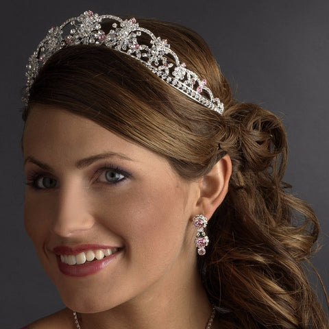 Sparkling Rhinestone & Swarovski Crystal Covered Bridal Wedding Tiara with Light Pink Accents in Silver 523