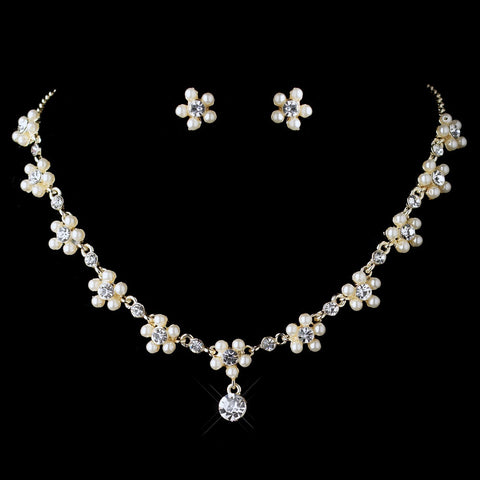Dainty Gold Ivory Pearl Rhinestone Flower Bridal Wedding Jewelry Set