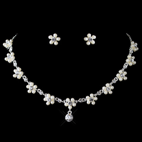 Dainty Silver White Pearl Rhinestone Flower Bridal Wedding Jewelry Set