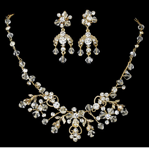 Gold Clear Swarovski Crystal Jewelry 6317 & Bridal Wedding Headband 7820 Set