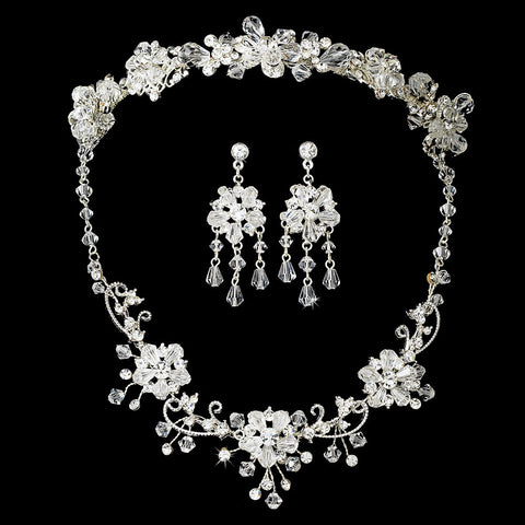 Stunning Silver Clear Swarovski Crystal Jewelry 6522 & Bridal Wedding Headband 7820 Set