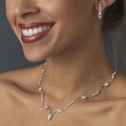 Bridal Wedding Necklace Earring Set 701 Silver Clear