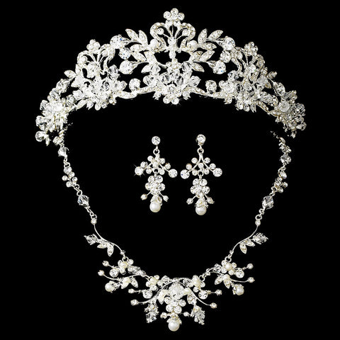 White Pearl & Crystal Bridal Wedding Jewelry 7204 & Bridal Wedding Tiara 7102 Set