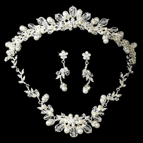 Silver Swarovski Crystal & Freshwater Pearl Jewelry 7223 & Bridal Wedding Tiara 7050 Set