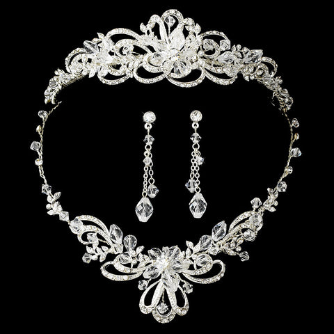Silver Swarovski Crystal Jewerly & Bridal Wedding Tiara Set 7324