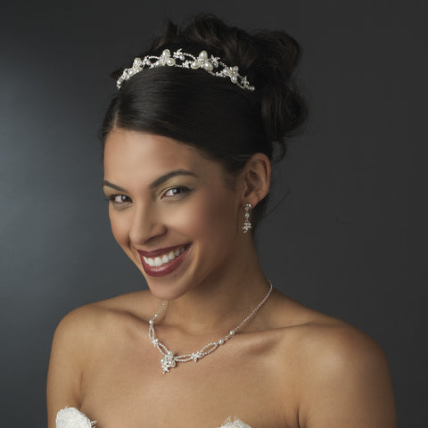 Lovely Silver Clear Rhinestone & White Pearl Jewelry 7329 & Bridal Wedding Headband 7808 Set