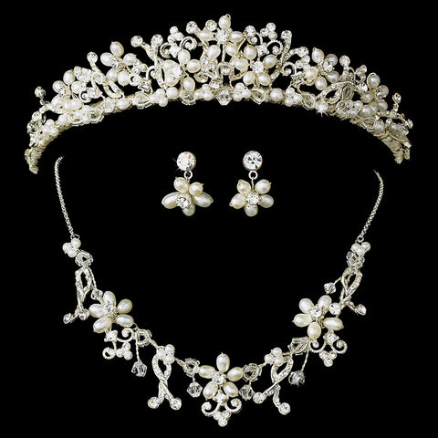 Pearl and Crystal Jewelry & Bridal Wedding Tiara Set NE 7607 HP 7007