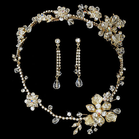 Swarovski Crystal Gold Bridal Wedding Jewelry 7802 & Bridal Wedding Headband Bridal Wedding Hair Comb 8148