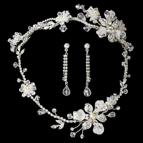Swarovski Crystal Silver Bridal Wedding Jewelry 7802 & Bridal Wedding Headband Bridal Wedding Hair Comb 8148
