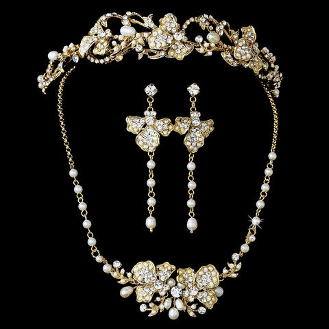 Freshwater Pearl & Crystal Gold Bridal Wedding Jewelry Set & Headband Set 7803