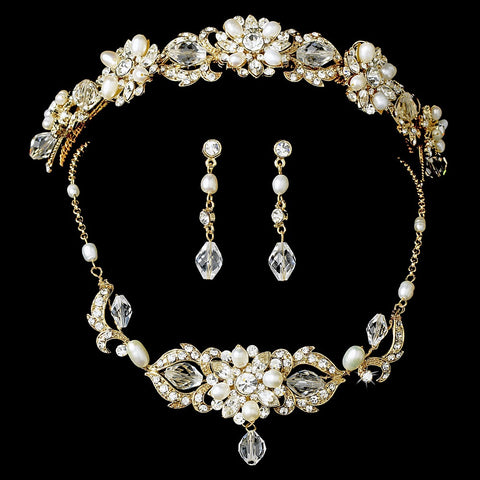 Gold Swarovski Freshwater Pearl Jewelry 7804 & Bridal Wedding Headband 7844 Set