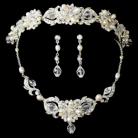 Silver Swarovski Freshwater Pearl Jewelry 7804 & Bridal Wedding Headband 7844 Set