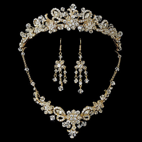 Gold Swarovski Crystal Bridal Wedding Jewelry Set & Tiara Set 7821