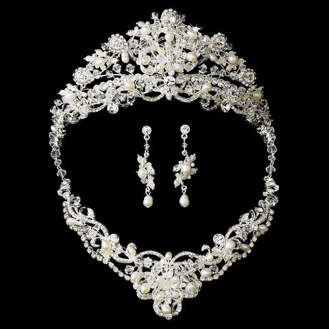 Silver Freshwater Pearl Jewelry & Bridal Wedding Tiara Set 7825
