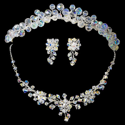 AB Aurora Borealis Swarovski Crystal Bridal Wedding Jewelry 8002 & Bridal Wedding Headband 8143 Set