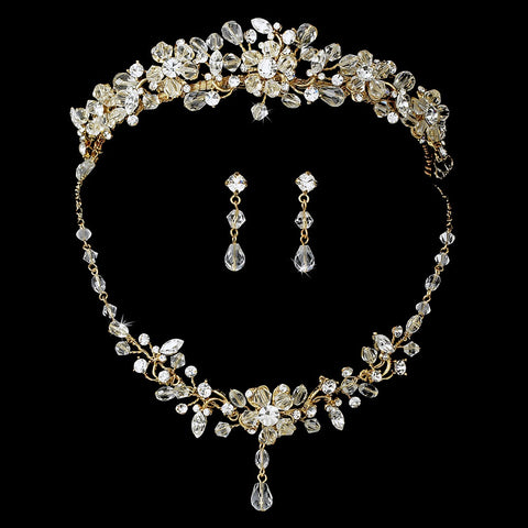 Gold Swarovski Crystal Couture Bridal Wedding Jewelry Set & Bridal Wedding Tiara Set 8003