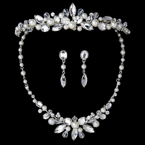 Silver Ivory Pearl Bridal Wedding Jewelry Set & Tiara Set