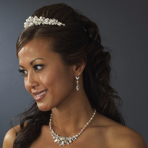Gold Ivory Pearl Bridal Wedding Jewelry Set & Tiara Set
