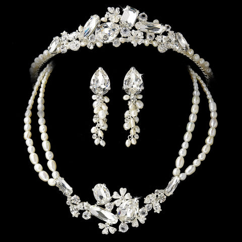 Pearl & Crystal Bridal Wedding Jewelry Set & Tiara Set 8238