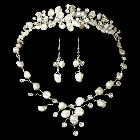 Freshwater Pearl & Crystal Bridal Wedding Necklace Earring Jewelry 8261 & Bridal Wedding Tiara 8134 Set
