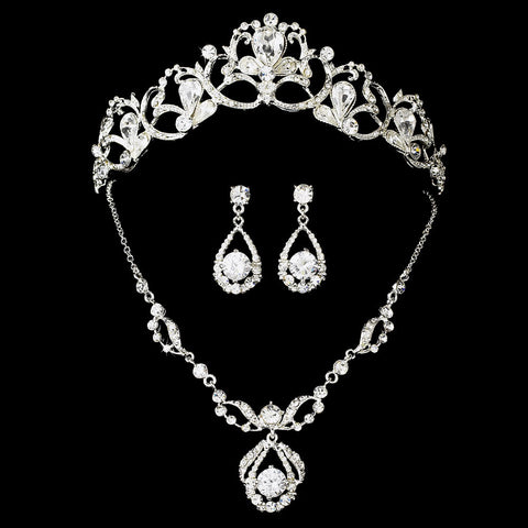 Silver Swarovski Bridal Wedding Jewelry Set & Tiara Set NE 8265 & HP 8113