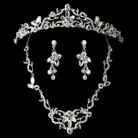 Vintage Bridal Wedding Jewelry Set & Tiara Clear Crystal Set NE 8312 & HP 8312