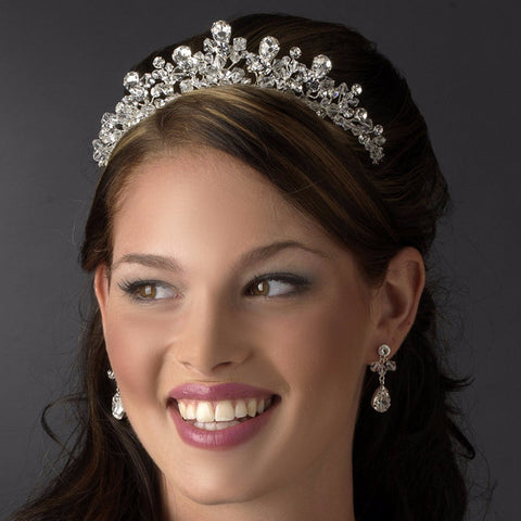 Fabulous Silver Clear Crystal Bridal Wedding Tiara Headpiece 9786