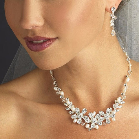 Silver White Freshwater Pearl Swarovski Crystal Bead Bridal Wedding Jewelry Set