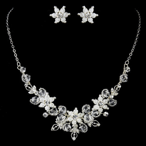 Silver Clear Rhinestone Swarovski Crystal Bead Floral Bridal Wedding Jewelry Set