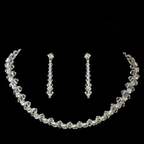 Silver Clear Rhinestone Crystal Bridal Wedding Jewelry Set