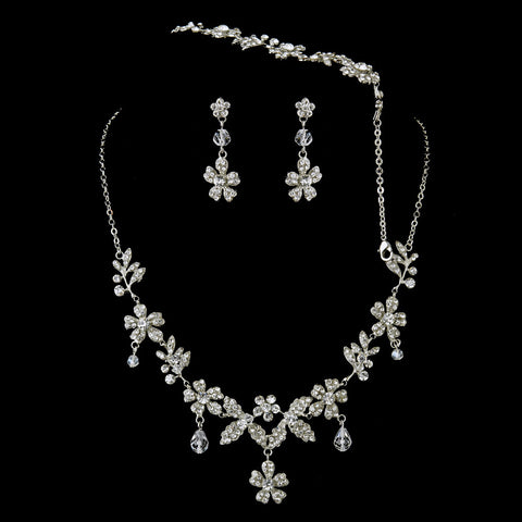 Rhodium CZ Flower Teardrop Bridal Wedding Necklace Earring Bridal Wedding Bracelet Bridal Wedding Jewelry Set 1323