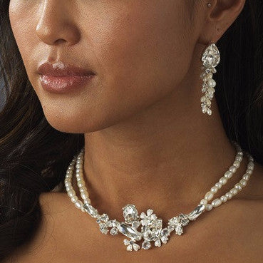 Pearl & Crystal Bridal Wedding Necklace Earring 8238 & Bridal Wedding Tiara 8236 Set