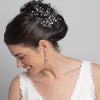 Antique Silver Rhodium Clear Round & Marquise Rhinestone Bridal Wedding Hair Pin 1132