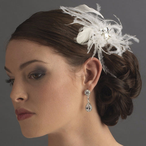 White Feather Fascinator Bridal Wedding Hair Pin with Rhinestone Cut Cluster Accent Pin 112
