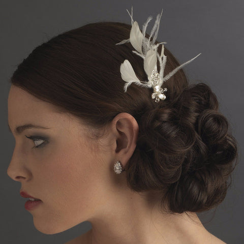 * Ivory Feather Rhinestone Swarovski Pearl Bridal Wedding Hair Pin Fascinator - Pin 113