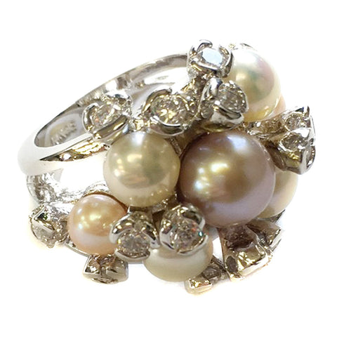 Silver Clear CZ Crystal & Rum Pink Pearl Bridal Wedding Ring 5156