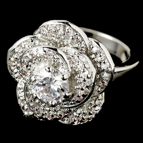 Flower CZ Crystal Bridal Wedding Ring 8139