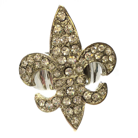 Rhodium Clear Rhinestone Fleur-de-lis Bridal Wedding Ring 9089