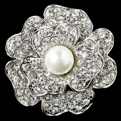 Flower Pearl & Rhinestone Bridal Wedding Ring 9503