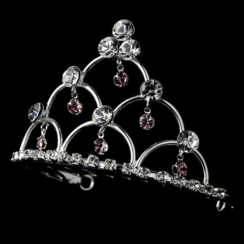* Silver and Amethyst Child's Bridal Wedding Tiara Bridal Wedding Hair Comb HPC 500