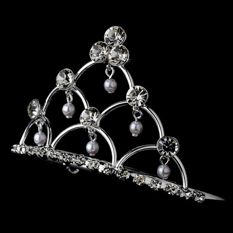 * Silver and Pearl Flower Girl's Bridal Wedding Tiara Bridal Wedding Hair Comb HPC 500