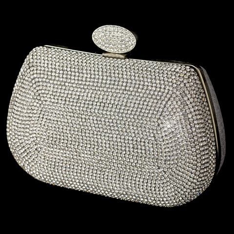 Silver Clear Rhinestone Encrusted Front Bridal Wedding Evening Bag with Link Chain
