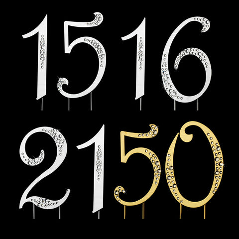 Sparkle ~ Silver & Gold Plated Individual Number Crystal Bridal Wedding Cake Toppers