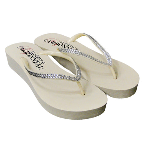 Sunshine ~ Low Heel Black Wedge Bridal Wedding Flip Flops with Crystal Straps