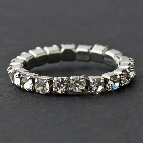 Rhinestone Toe Bridal Wedding Ring Stretchy 1
