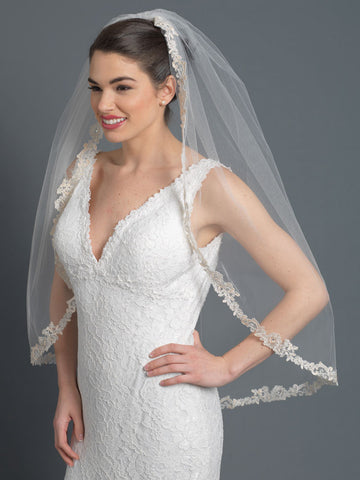 Ivory Rum Accented Single Layer Fingertip Length Floral Lace Embroidery Edge Bridal Wedding Veil with Rhinestones 1143