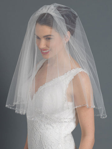 Single & Double Tier Elbow Length Bridal Wedding Veil with Sparkling Beaded Edge of Accents V 119 1E